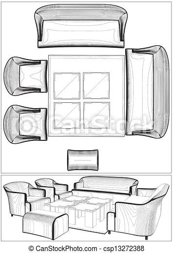 Modern Living Room Furniture Vector