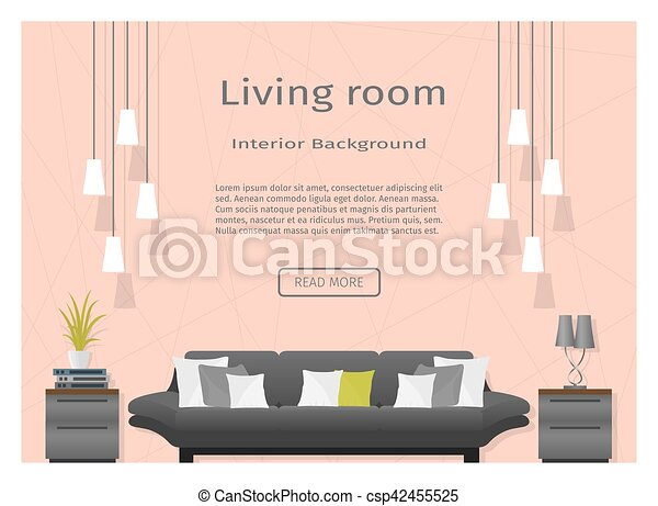 Modern living room interior banner website designers. flat vector ...