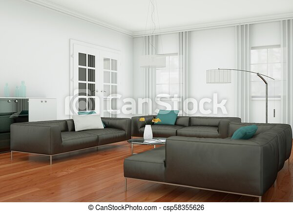 Modern living room interior design with brown leather sofas
