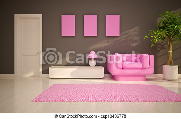 Modern living room with pink chair stock illustrations - Search EPS ...