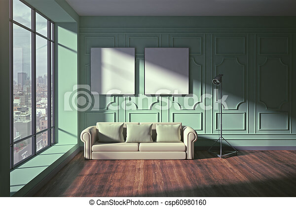 . Modern living room with empty frames