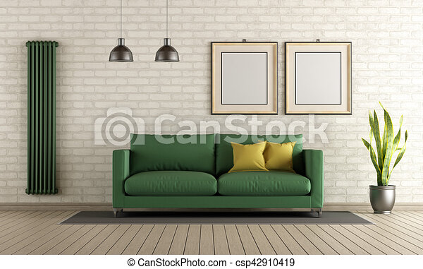 Modern living room with green sofa