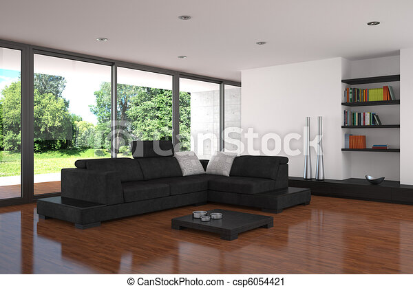 modern living room with parquet floor - csp6054421