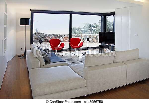 Modern living room with tv equipment - csp8956750