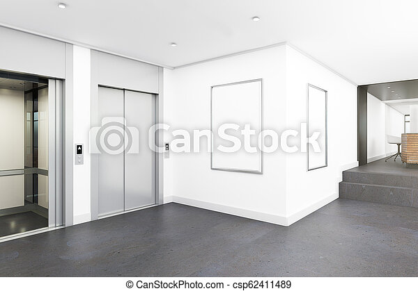 Modern Lobby With Poster Modern Office Lobby Interior With