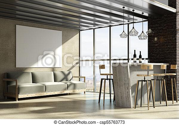 Modern luxury loft apartment architecture interior foto poster
