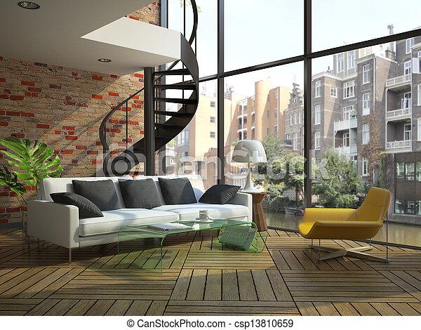 Modern loft interior with part of second floor - csp13810659