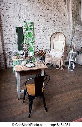 brick living room furniture. modern loft living room with high ceiling sofa empty white brick wall wood
