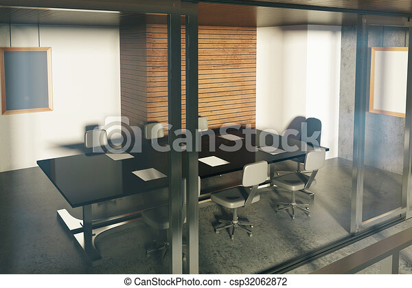 Modern Loft Style Conference Room With Furniture At Sunset   Csp32062872