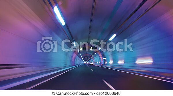 modern long tunnel in a railcar with light shades - csp12068648