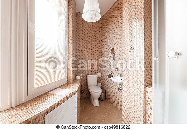Modern luxury bathroom with shower cabin and window. interior design ...