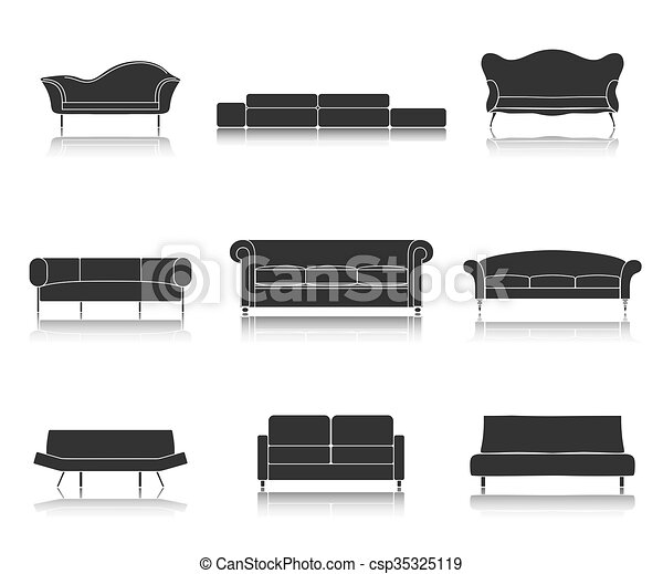 Modern luxury sofas and couches furniture icons set for living room  illustration.