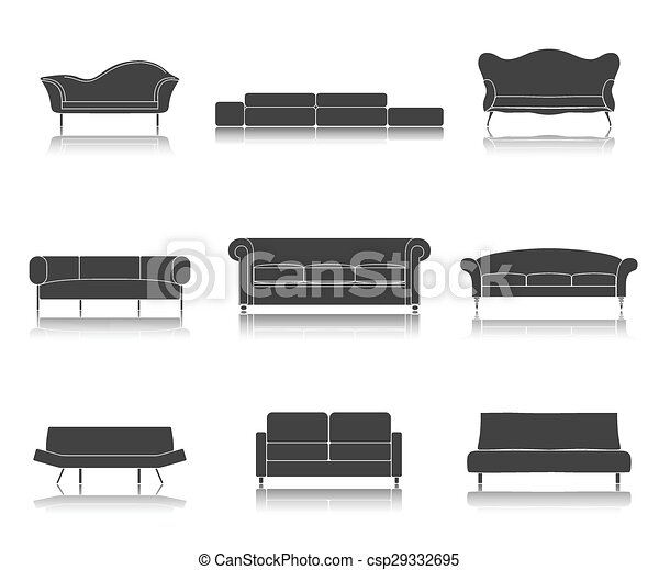 Remarkable Modern Luxury Sofas And Couches Furniture Icons Set For Living Room Vector Illustration Bralicious Painted Fabric Chair Ideas Braliciousco