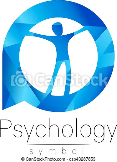 Modern Man Logo Sign Of Psychology Human In A Circle Creative Style Icon In Vector Design Concept Brand Company Blue Color Isolated On White