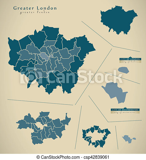Map Of Greater London Area.Modern Map Greater London Uk England Illustration