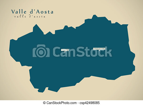 Modern Map Of Italy.Modern Map Valle D Aosta It Italy