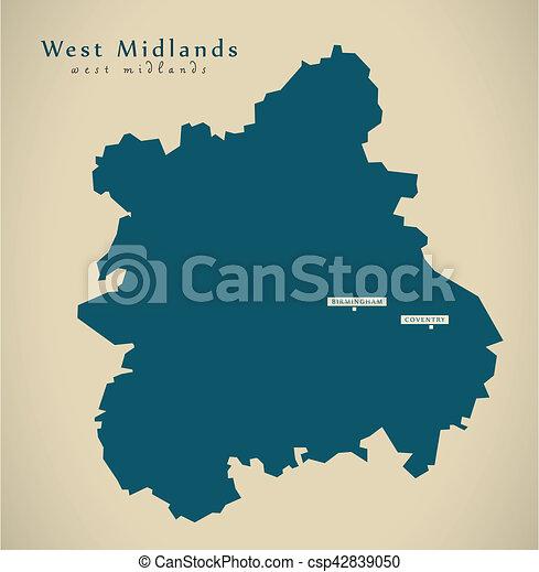 Modern Map West Midlands Uk England Illustration