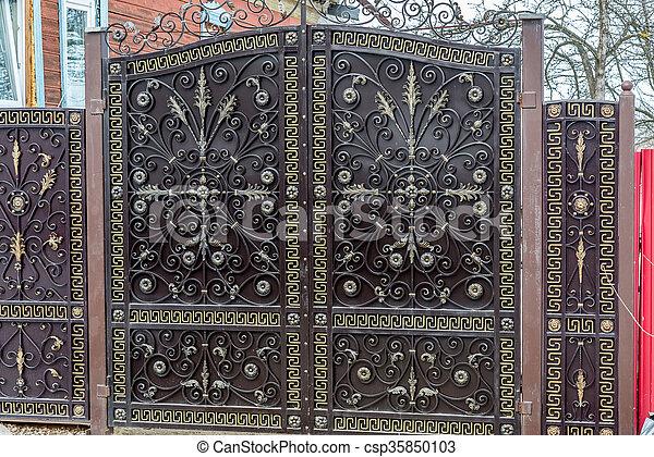 modern metal gate. Modern Metal Gate Near A Apartment House - Csp35850103 Modern