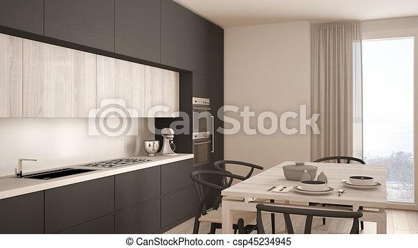 Modern Minimal Gray Kitchen With Wooden Floor Classic Interior Design - Grey kitchen with wooden floor