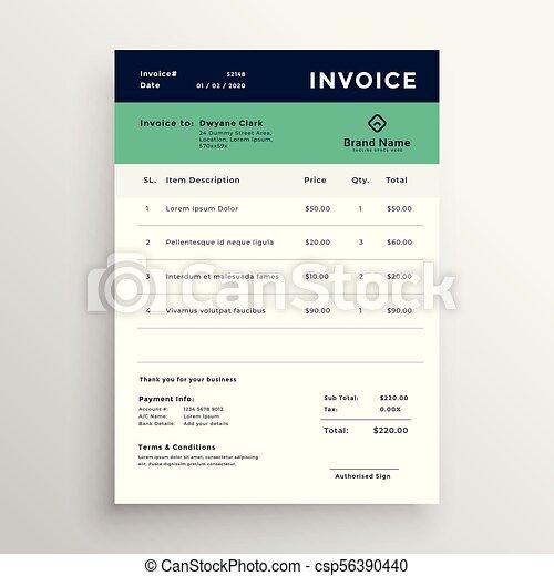 modern minimal invoice template vector design