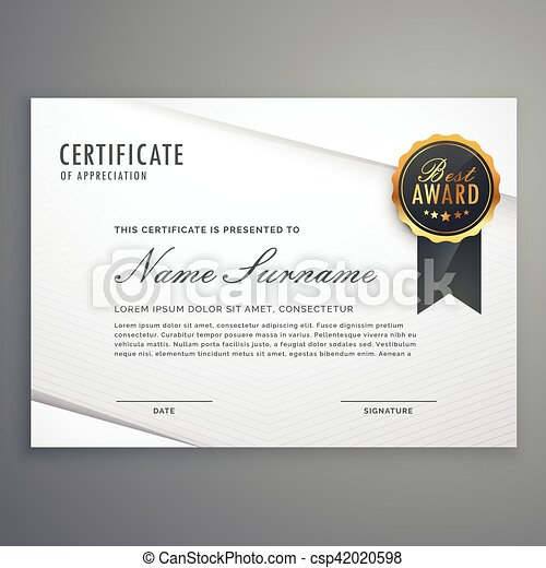Modern minimal style certificate of appreciation template eps modern minimal style certificate of appreciation template with best award badge csp42020598 yelopaper Image collections