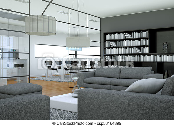 Modern minimalist living room interior in loft design style with sofas