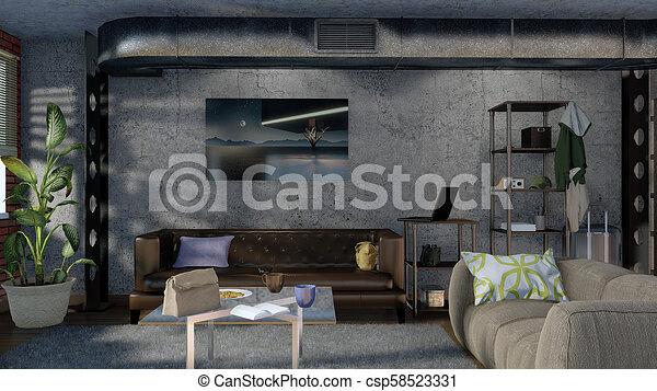 Modern minimalist living room interior design 3D