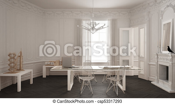 Modern Minimalist Office In Classic Vintage Room With Fireplace Luxury White And Gray Interior Design