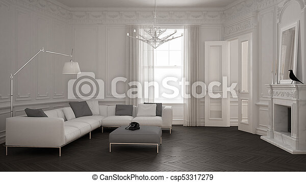Fabulous Modern Minimalist Sofa In Classic Vintage Living Room With Fireplace Luxury White And Gray Interior Design Unemploymentrelief Wooden Chair Designs For Living Room Unemploymentrelieforg
