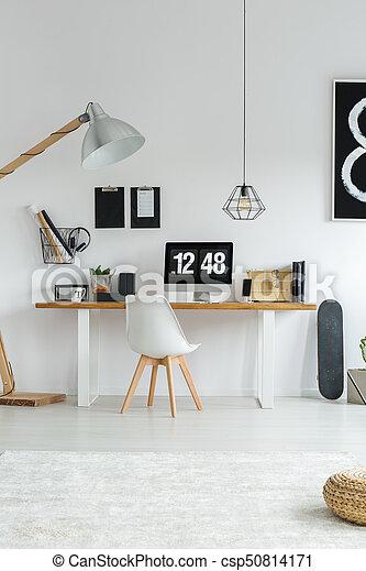 modern minimalist white office interior csp50814171 f71 office