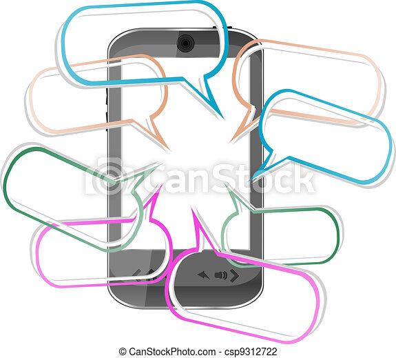 Modern mobile smart phone. Sending SMS Messages - csp9312722