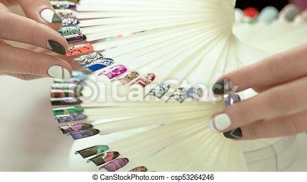 Modern Nail Art Samples Woman Hands Collection Of Nail Design