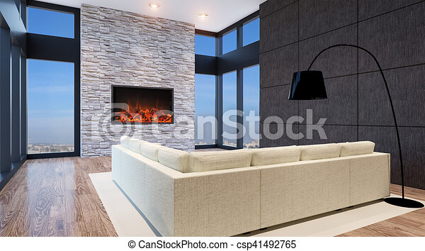 Interior Living Room. 3d Render   Csp41492765