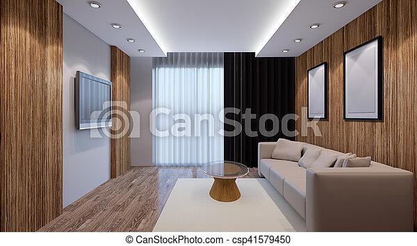Interior Living Room. 3d Render   Csp41579450