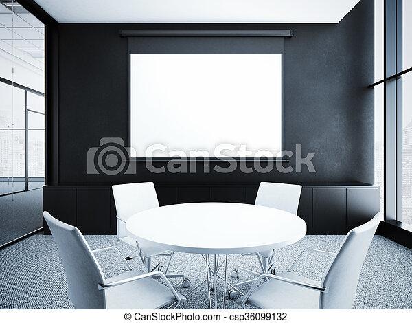 modern office interior. Modern Office Interior With Black Walls. 3d Rendering - Csp36099132 Modern