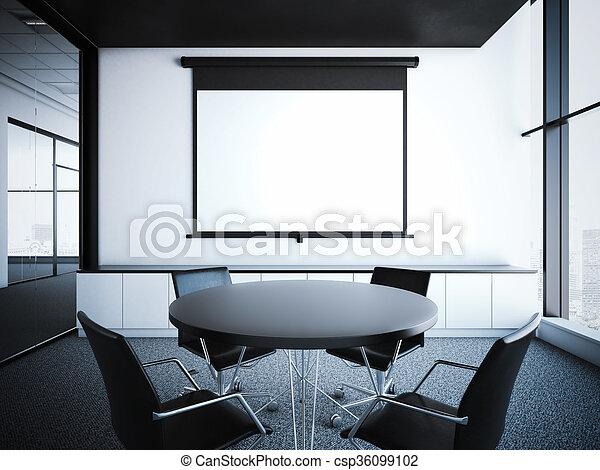 modern office interior. Modern Office Interior With Projector Screen. 3d Rendering - Csp36099102 Modern