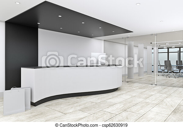 Modern Office Lobby Interior With Reception Desk Entrance Concept