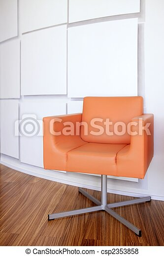Fantastic Modern Office Lobby With Orange Chair Machost Co Dining Chair Design Ideas Machostcouk