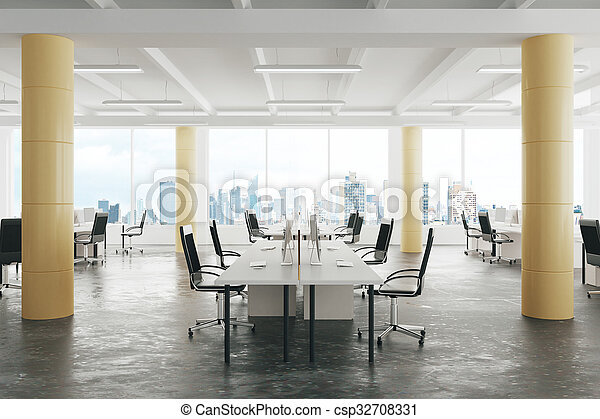 Modern Open Space Loft Office With Concrete Floor Big Windows And Pillars Stock Photo