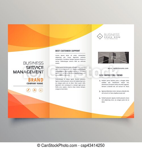 Modern Orange Trifold Brochure Template In Wave Style Clipart Vector