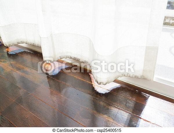 modern parquet floors and curtain. - csp25400515