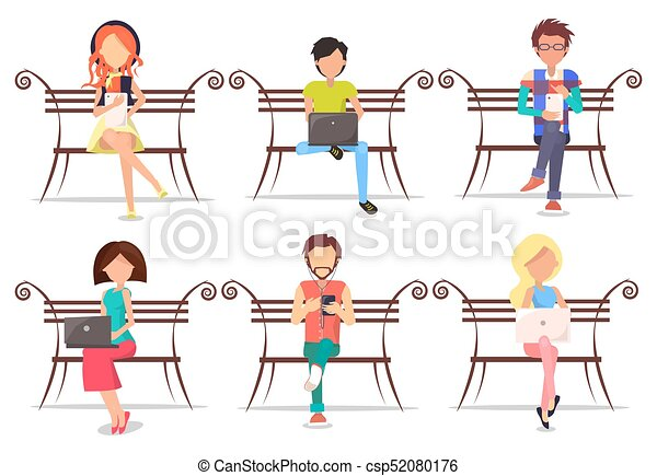 Astounding Modern People With Devices Sit On Wooden Bench Set Bralicious Painted Fabric Chair Ideas Braliciousco