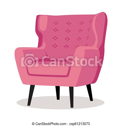 Delicieux Modern Pink Soft Armchair With Upholstery   Interior Design Element  Isolated On White Background.