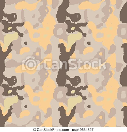 Modern Pixelated Camouflage Seamless Pattern To Disguise In Desert Vector