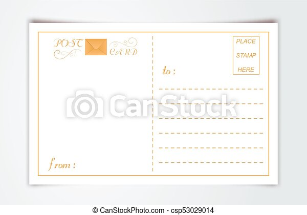 Modern Postcard Inner Reverse Side Blank Template With Logo Typography Paper Background Vintage