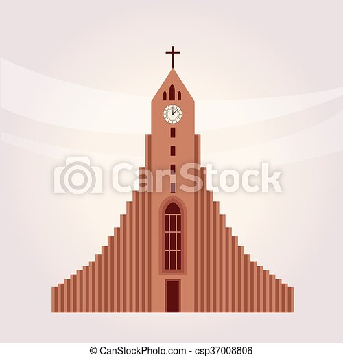Modern Protestant Church Building Flat Bright Color Simplified