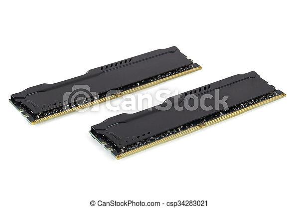 Modern RAM memory modules with black radiator - csp34283021