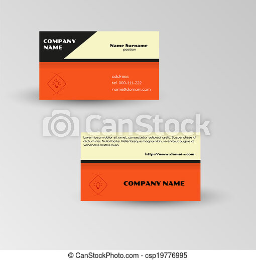 modern red business card vector template on gray background