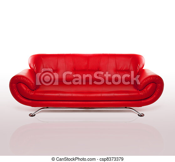 Modern Red Leather Couch