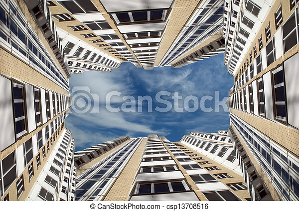 Modern residential high rise building. Moscow, Russia - csp13708516
